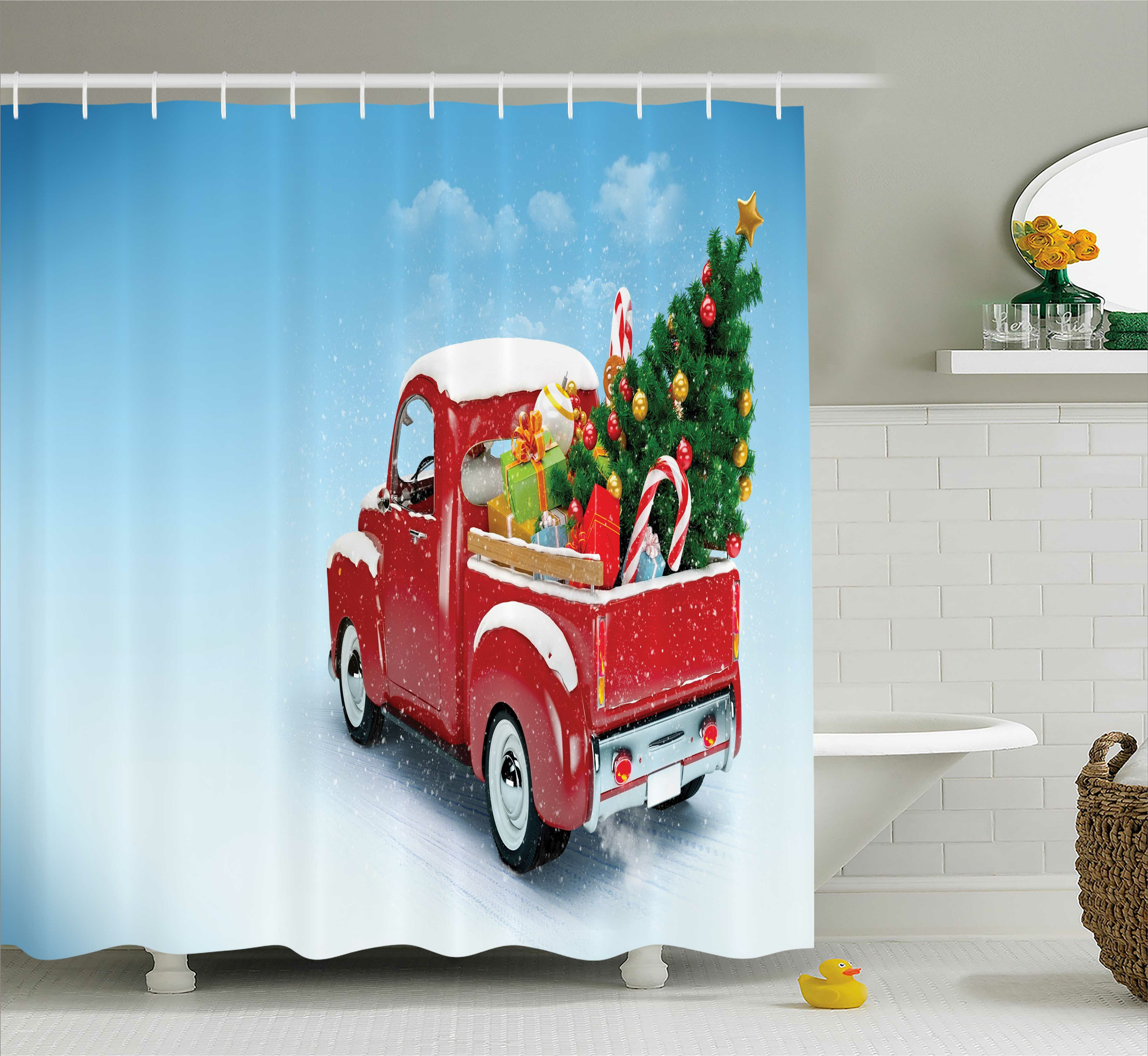 The Holiday Aisle Christmas Red Truck Xmas Tree Shower Curtain