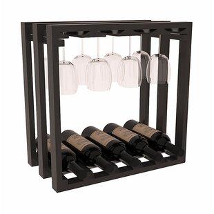 Karnes Pine Lattice Stemware Cube 10 Bottle Tabletop Wine Rack