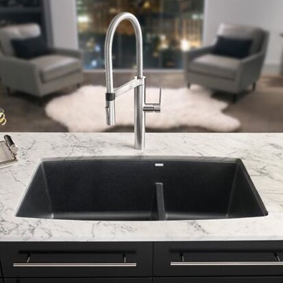 Performa 33  L x 19  W 2 Basin Undermount Kitchen Sink & Blanco Performa 33