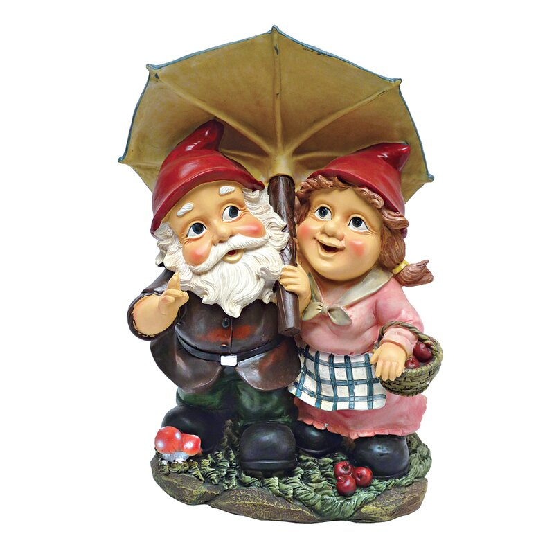 Rainy Day Gnomes Under An Umbrella Garden Statue