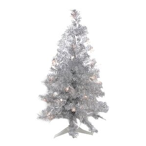 2u0027 Silver Iridescent Pine Artificial Tinsel Christmas Tree With Clear Lights