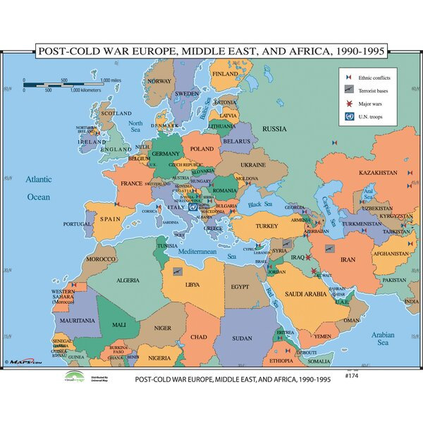 Universal Map World History Wall Maps Post Cold War Europe - Map of egypt and middle east
