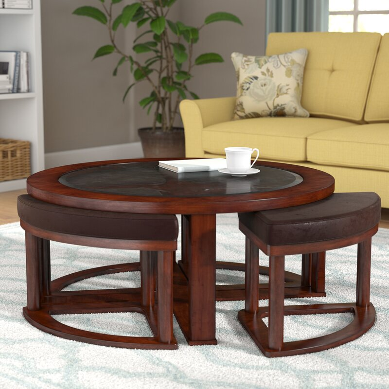 Darby Home Co Eastin Coffee Table With Nested Stools