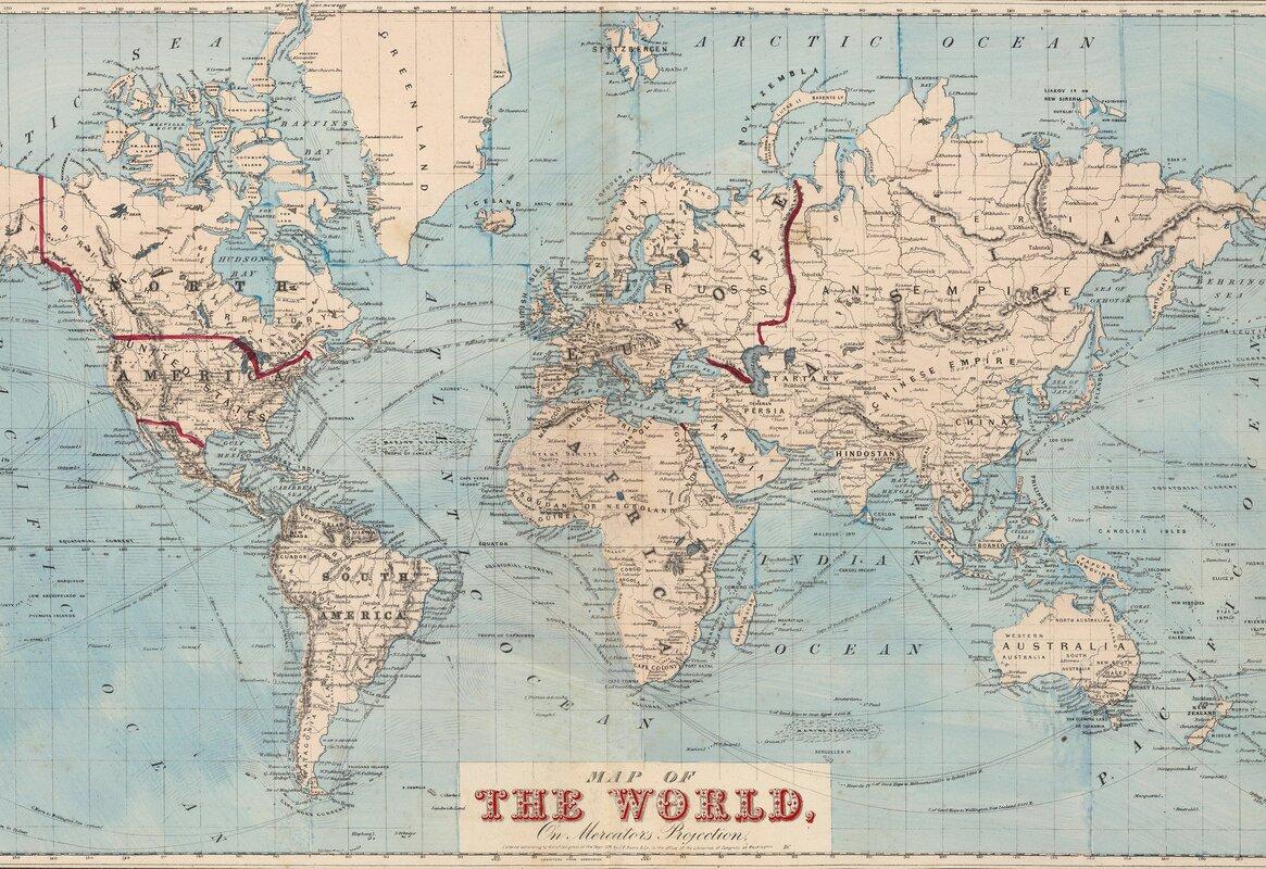 Mercury Row Gilbertson Map Of The World Wall Mural U0026 Reviews | Wayfair Part 25