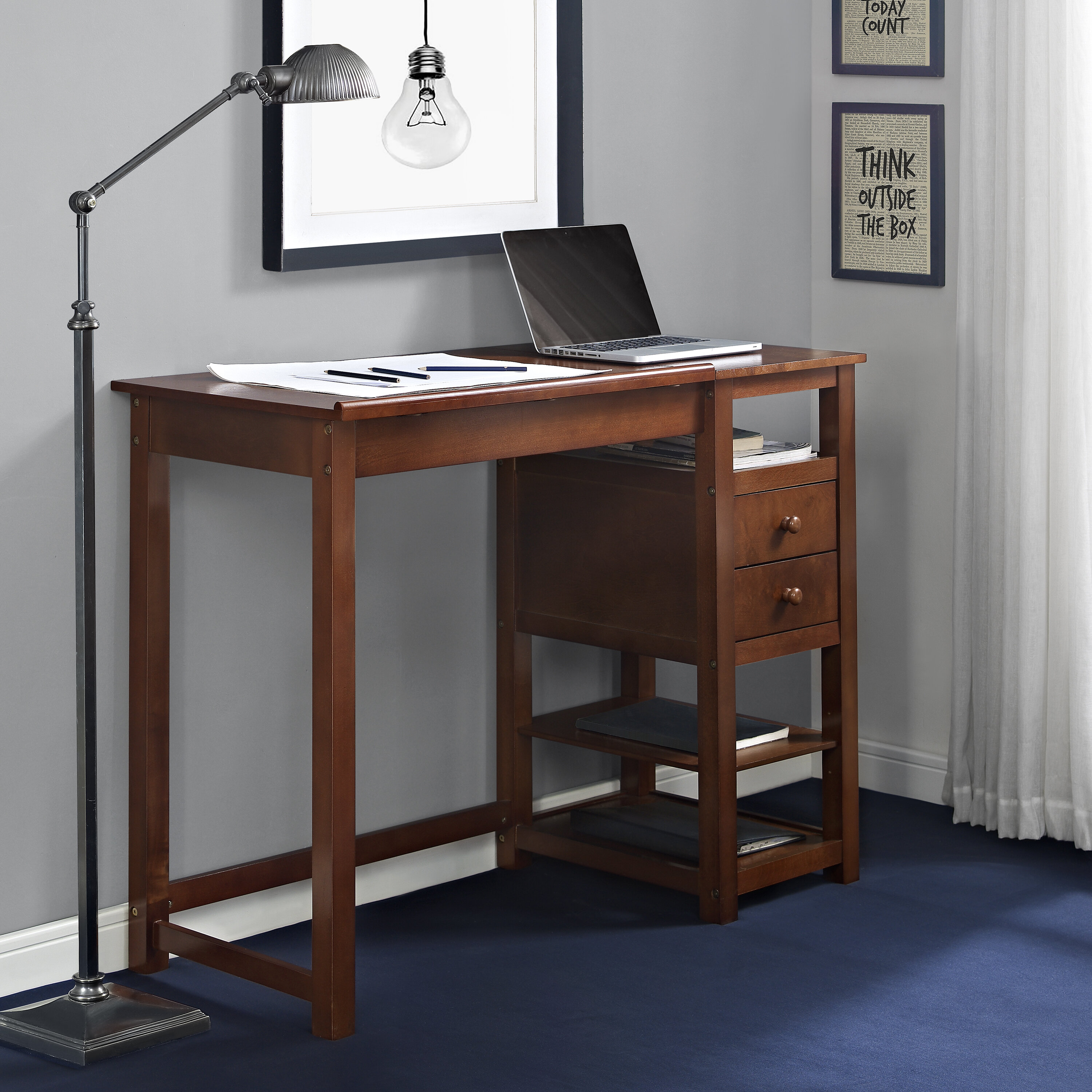 saving products wood shape desk homcom space computer cpu office l home table with stand corner black