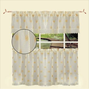 3 Piece Ornate Sheer Kitchen Curtains