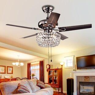 Chandelier crystal ceiling fans youll love wayfair 43 aslan 5 blade ceiling fan aloadofball Images