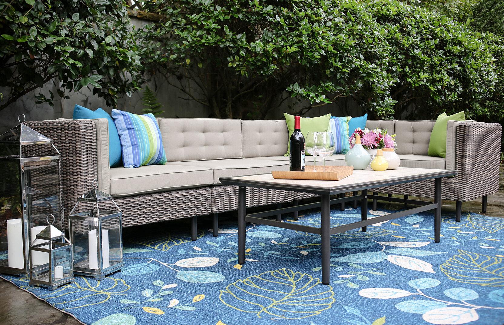 Brayden Studio Kenn 6 Pieces Sunbrella Sectional Set With Cushions U0026  Reviews | Wayfair