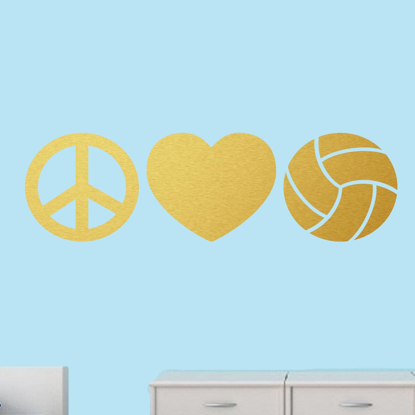 Ebern Designs Milian Peace Love Volleyball Stickers Wall Decal   Wayfair