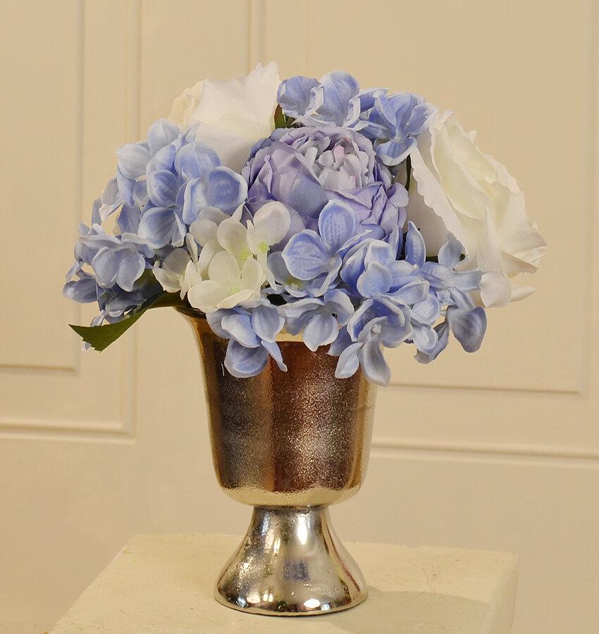 Floral Home Decor Silk Design Mixed Arrangement In Decorative Vase