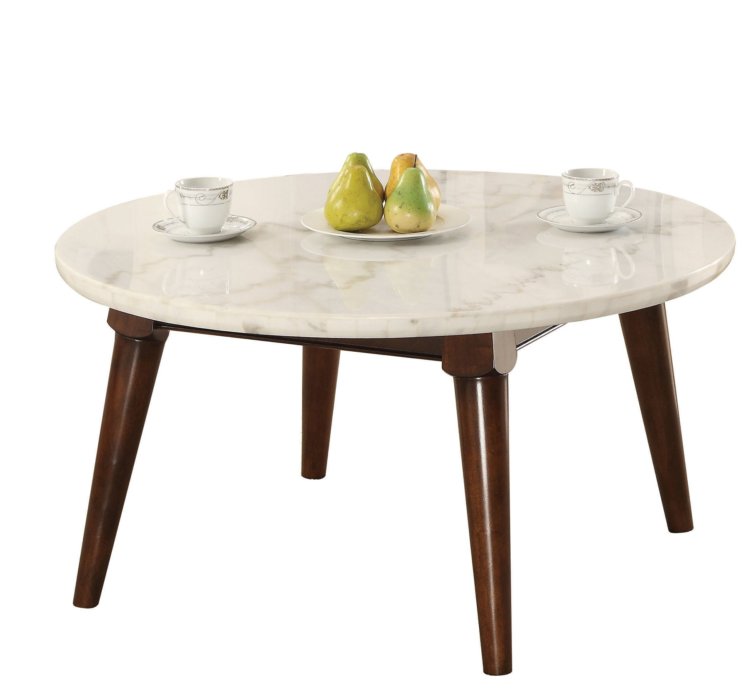 c80781e752c61a Ivy Bronx Calderdale Marble Top Wood Base Coffee Table | Wayfair