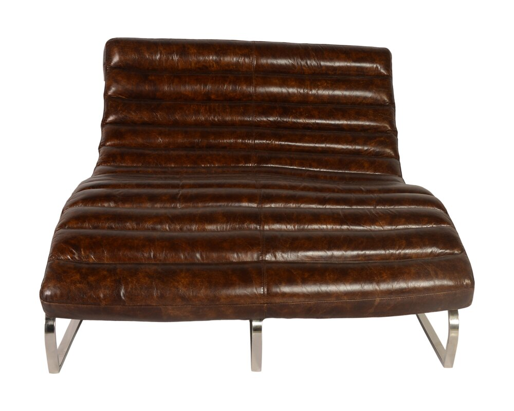 Perici Leather Double Chaise Lounge  sc 1 st  Wayfair.com : chaise lounge leather - Sectionals, Sofas & Couches