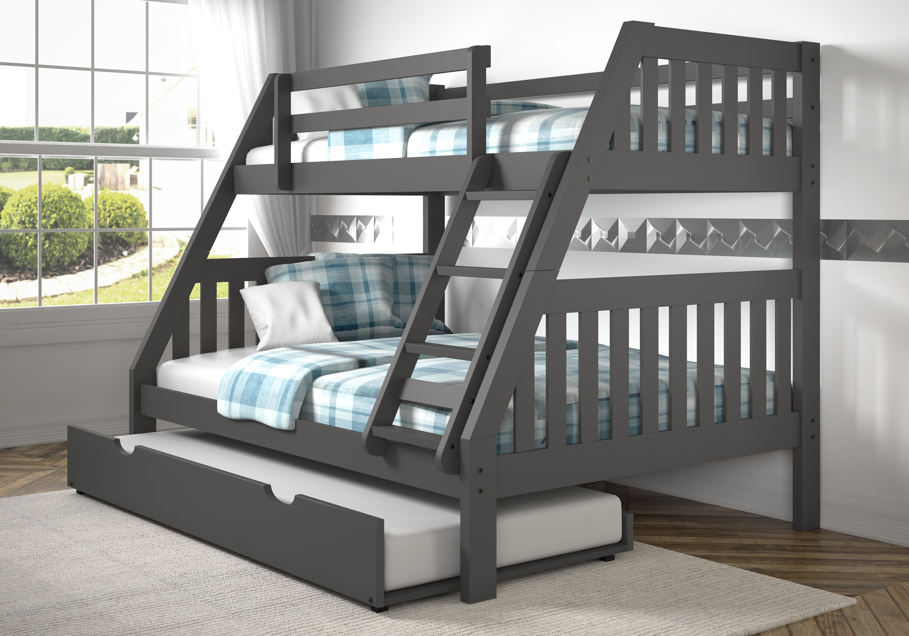 Harriet Bee Dubbo Twin Over Full Bed With Trundle Reviews Wayfair
