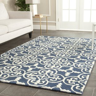Byron Navy Blue Ivory Tufted Wool Area Rug