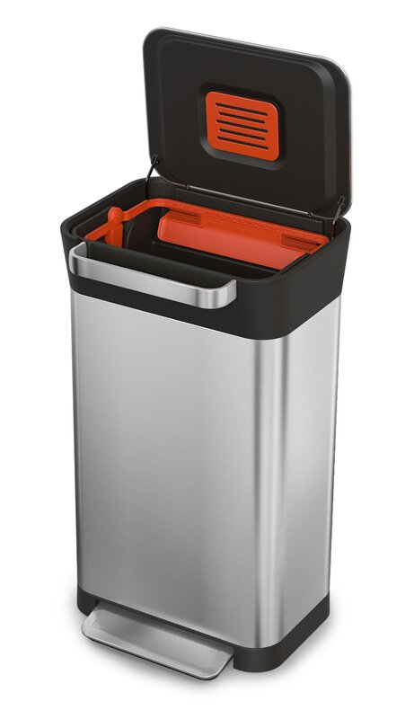 joseph joseph intelligent waste titan stainless steel 8 gallon step