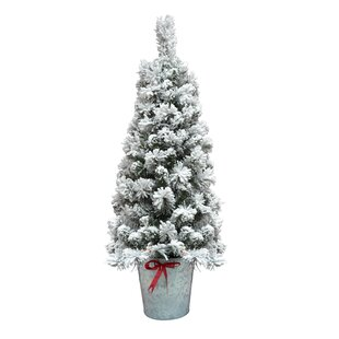 4 flocked pot green artificial christmas tree with 35 clear lights