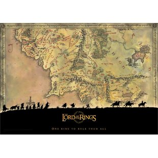 Lord of the Rings Trilogy u0027Middle Earthu0027 Graphic Art Print  sc 1 st  Wayfair & Lord Of The Rings Wall Art | Wayfair