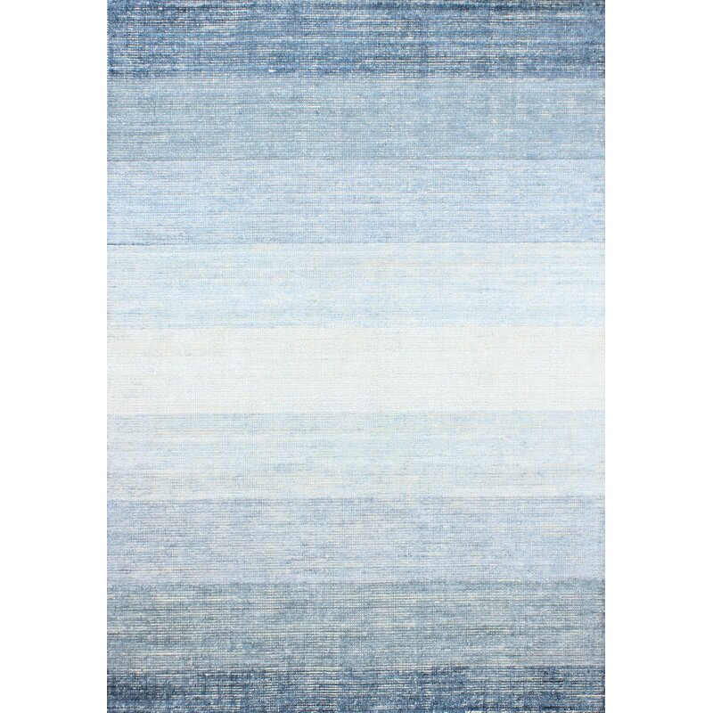 Gracie Oaks Severo Hand-Loomed Blue Area Rug, Size: Rectangle 76 x 96