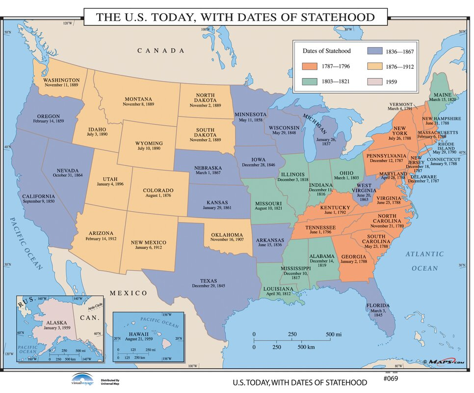 Universal Map US History Wall Maps US Today With Dates Of - Map of us in 1787