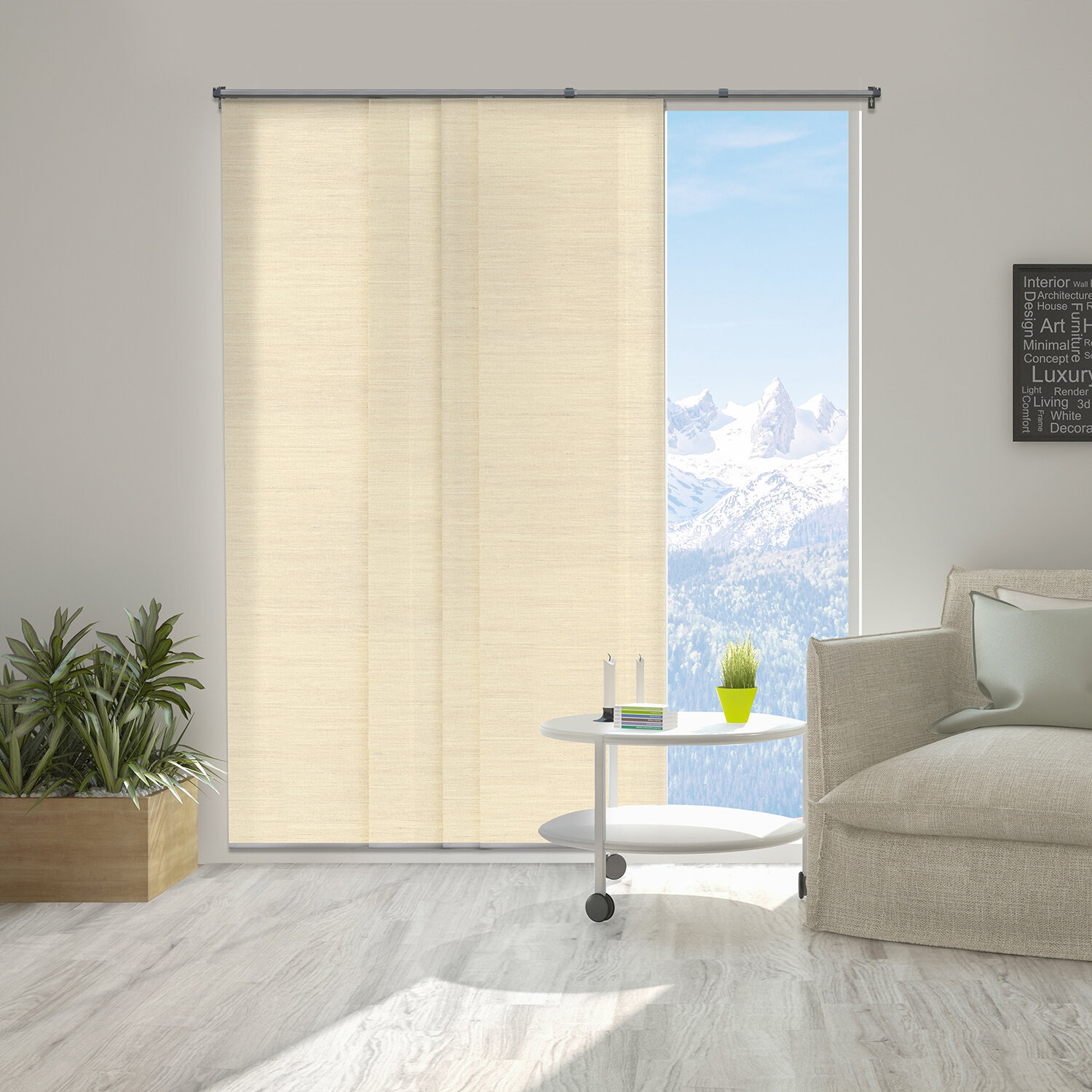 Premium Adjustable Sliding Panels, Cut to Length Vertical Blinds, Florence  Maize (Natural Woven, Up to 80