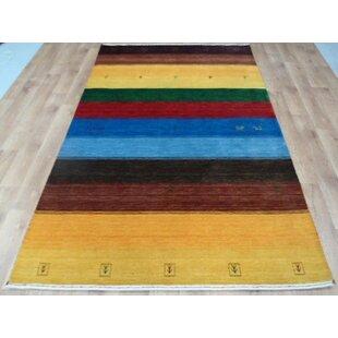 Handgefertigter Teppich Swayne Gabbeh Aus Wolle In Gelb/Braun