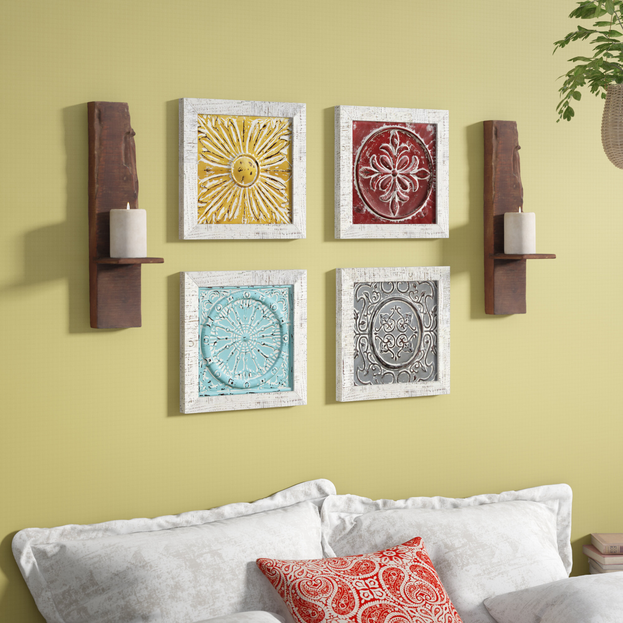 Bungalow Rose 4 Piece Accent Tile Wall Décor Set & Reviews | Wayfair