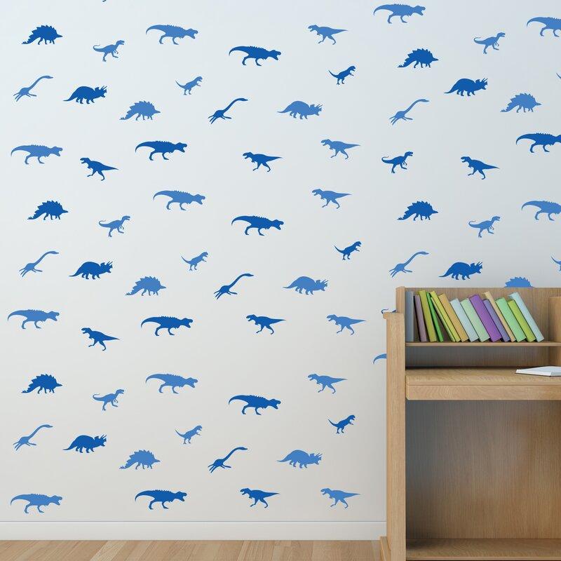 East urban home wandtattoo blaue dinosaurier - Wandtattoo dinosaurier ...