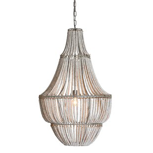 White wood beaded chandelier wayfair bobby 1 light chandelier mozeypictures Choice Image