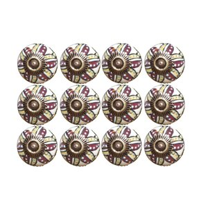 Handpainted Taj Hotel Mushroom Knob (Set of 12)