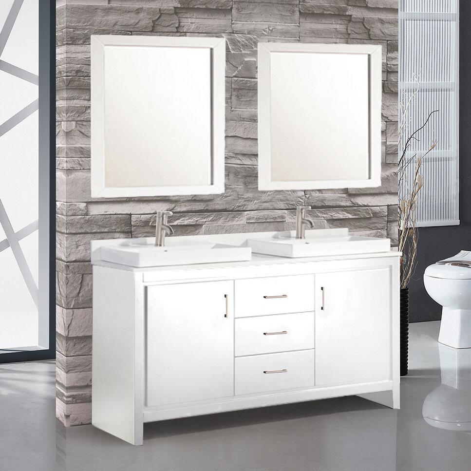Wade Logan Chauncy Contemporary 60 Double Sink Bathroom Vanity Set