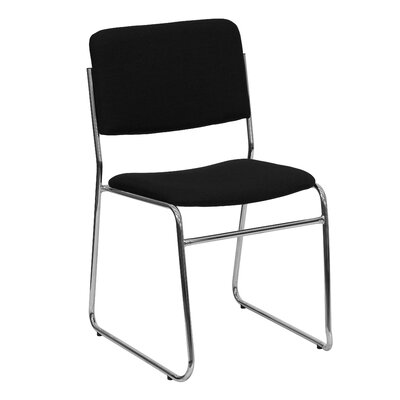 Ebern Designs MacArthur Metal Stacking Guest Chair Upholstery / Frame Finish: Black Fabric / Chrome