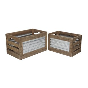 Gentil Ridged 2 Piece Wood Crate Set