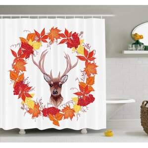 Fall Reindeer Head In Rounded Wreath Frame Made With Aesthetic Fall Leaves  Shower Curtain Set