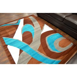Cosner Brown Turquoise Area Rug