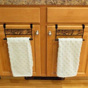 Evelots Over Cabinet Door Towel Bar Bathroom Kitchen No Installation Black Set 2 Of