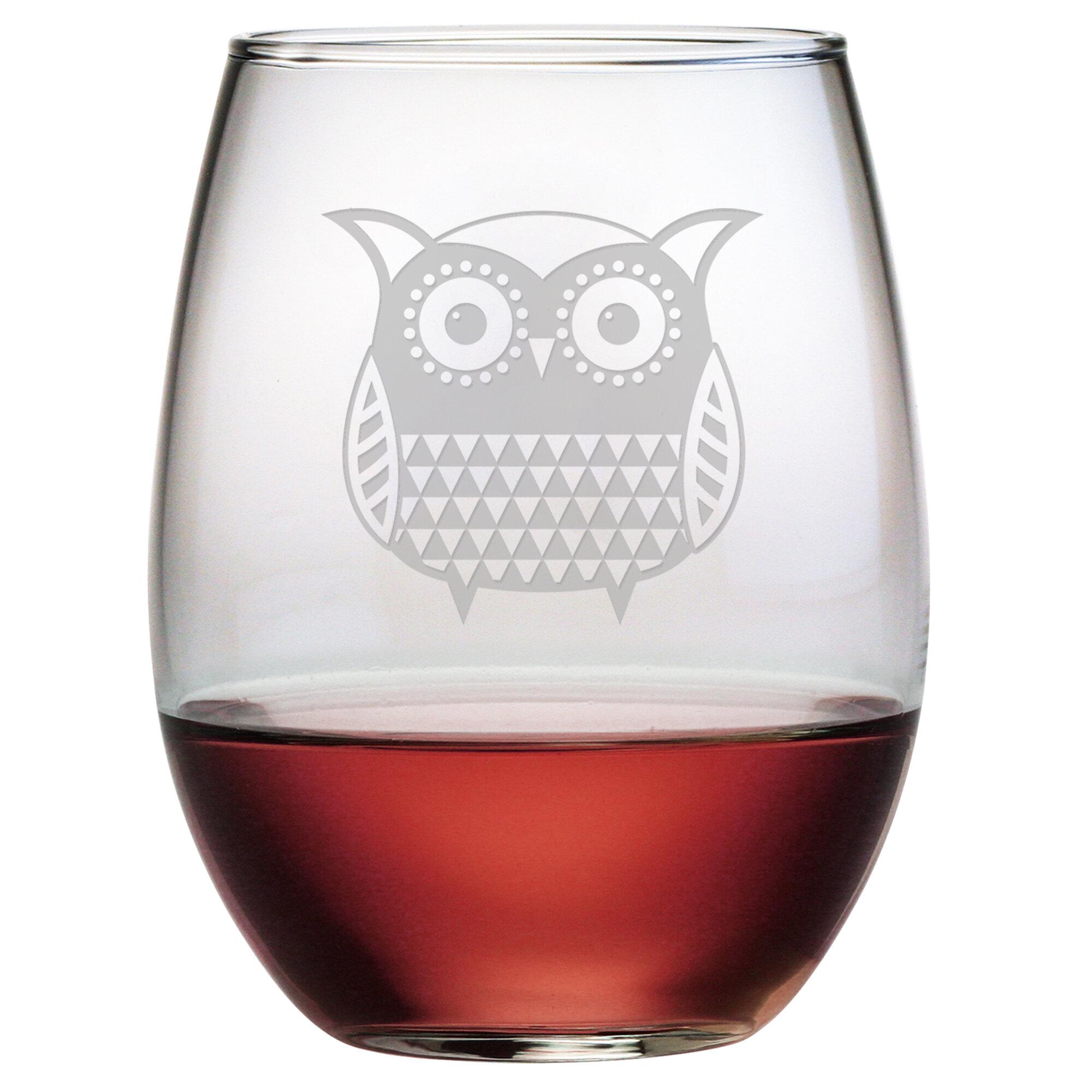 Owl Canisters For The Kitchen Ivy Bronx Brinegar Folk Art Owl Stemless Wine Glass Wayfair