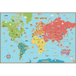 Kids world map wayfair kids world dry erase map wall stickers gumiabroncs Image collections