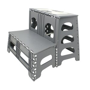 2-Step Plastic Folding Step Stool with 300 lb Load Capacity