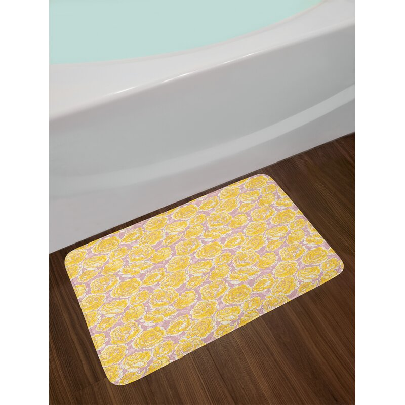 East Urban Home Ambesonne Flower Bath Mat By Hand Drawn Romantic