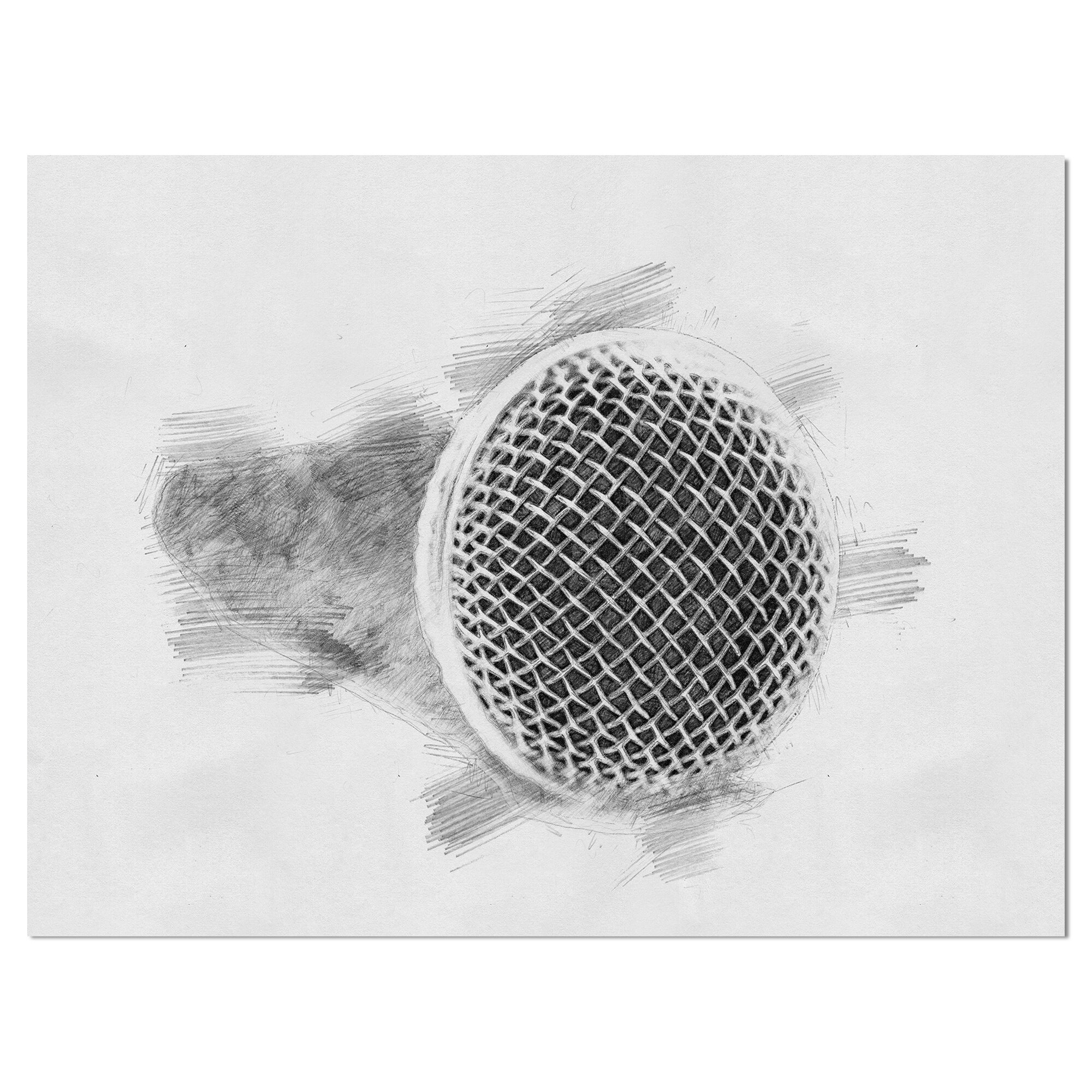 East urban home music microphone in pencil sketch drawing print on wrapped canvas wayfair