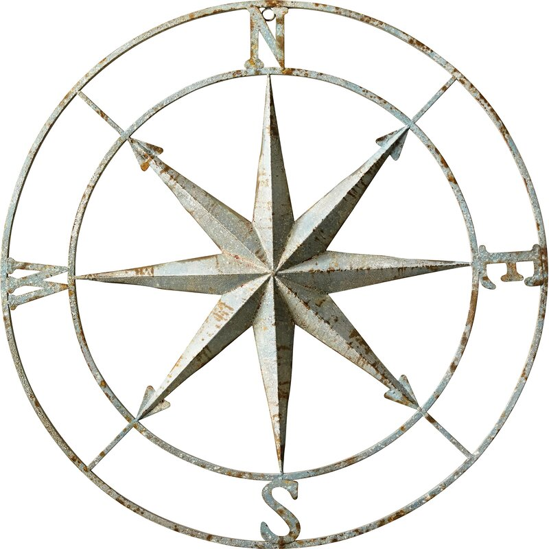 Round Metal Compass Wall Décor
