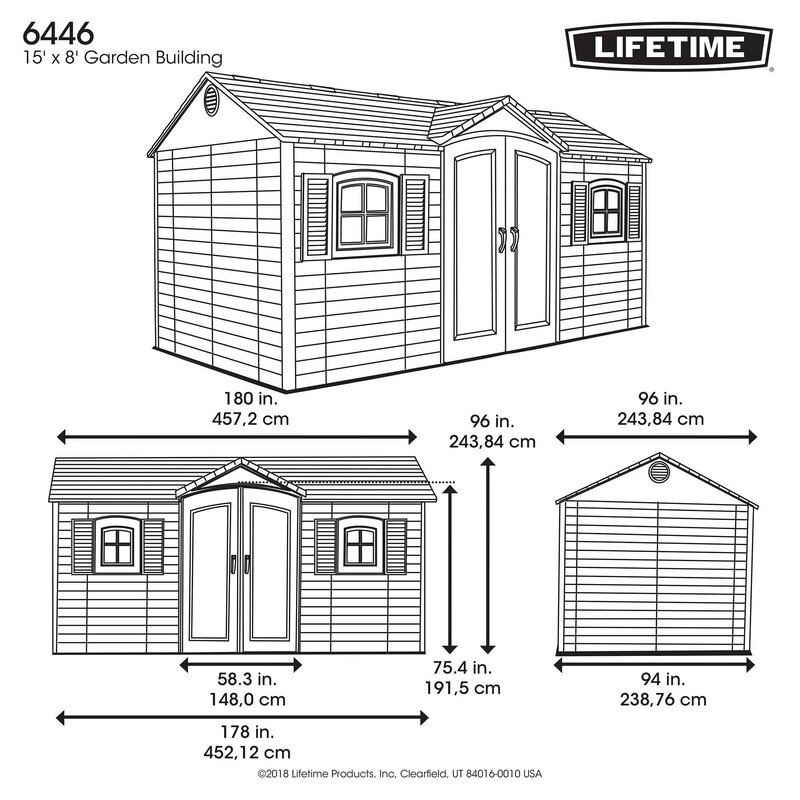feeafb4c6e64 Lifetime Side Entry 15 ft. W x 8 ft. D Plastic Storage Shed ...