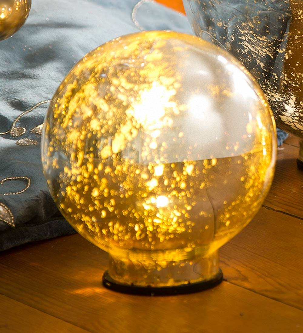 Plow & Hearth Lighted Mercury Glass Water Globe & Reviews | Wayfair