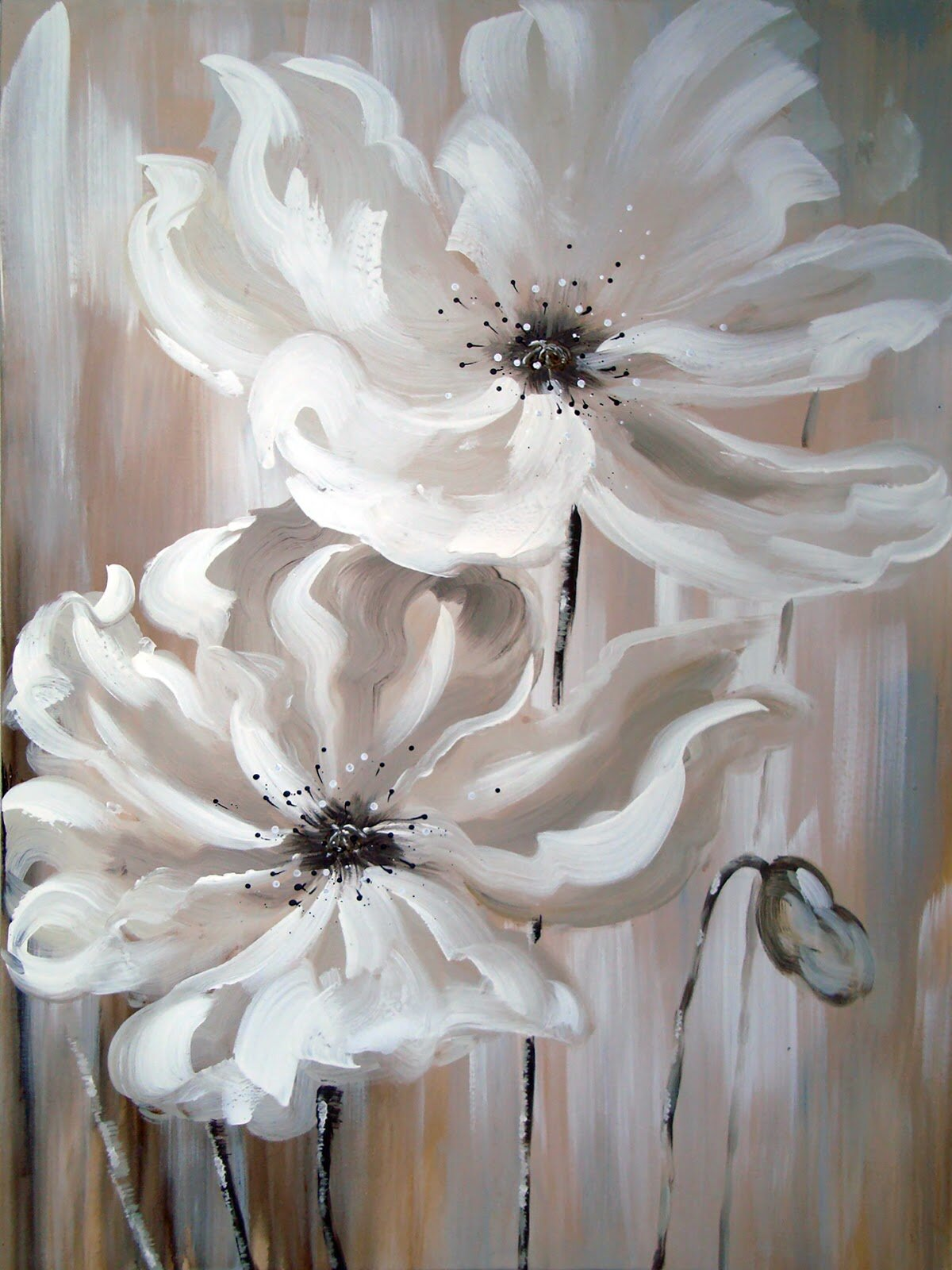 Ebern Designs White Flower I Oil Painting Print On Wrapped Canvas