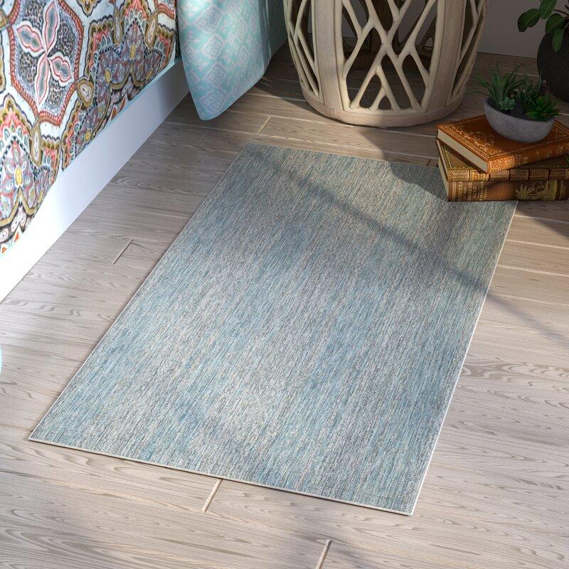 Mistana Myers Abstract Gray Aqua Indoor Outdoor Area Rug