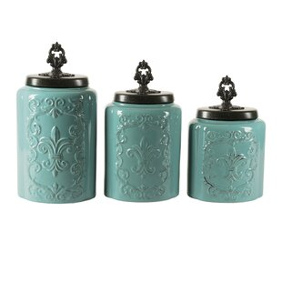 Blue Kitchen Canisters Set Of 3 - Coshocton