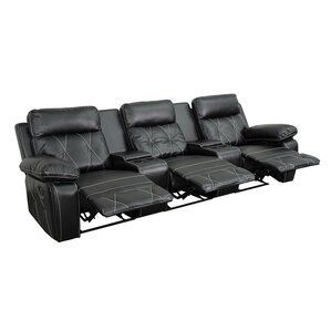 3 Seat Reclining Leather Home Theater Sofa by Latitude Run