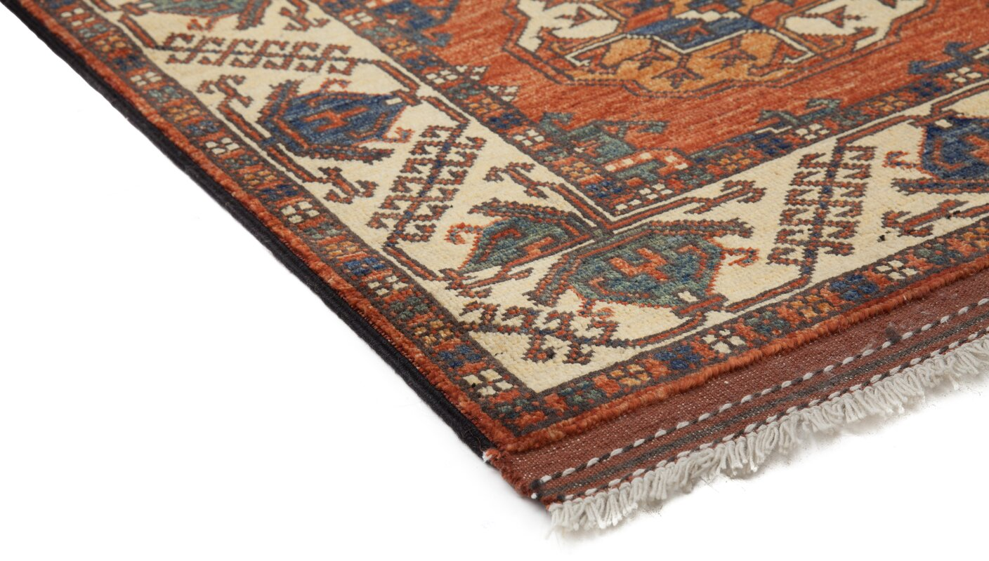One Of A Kind Khyber Hand Knotted Red Area Rug