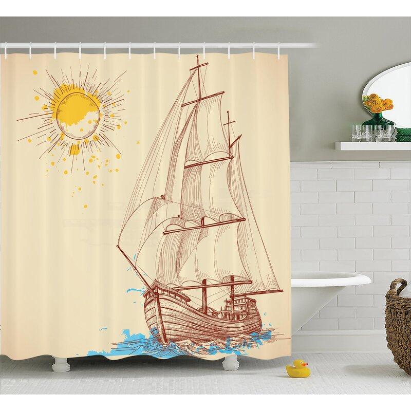 Sailing Boat Nautical Decor Shower Curtain