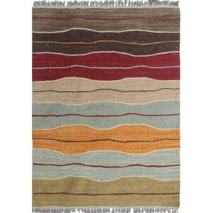 Troy Kilim Hand Woven Wool Brown Area Rug
